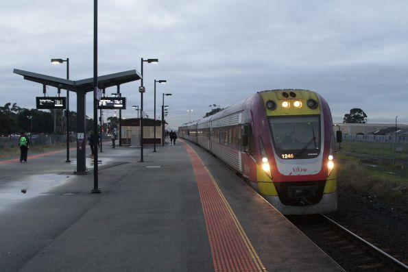 VLocity 23VL46 and classmate on a down South Geelong service pause for passengers at Deer Park