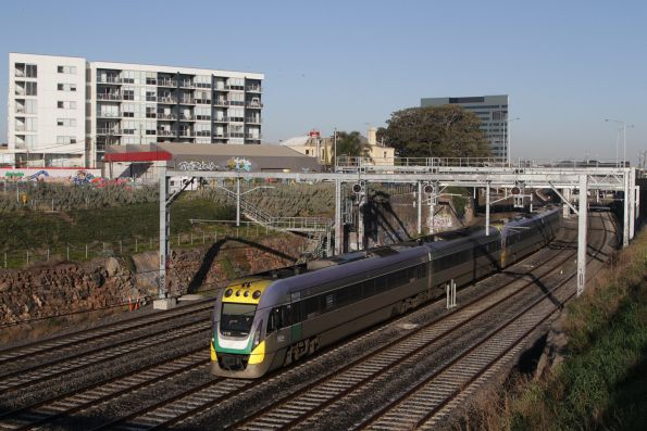 VLocity VL16 and classmate depart Footscray on the up