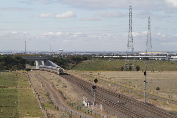 After a two minute wait, the up Ballarat service finally gets a clear signal towards the city