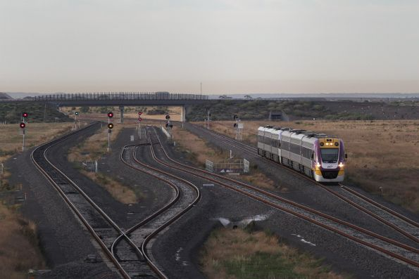 VLocity 3VL05 and classmate lead an up Geelong service past the Wyndham Vale South turnback siding