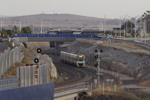 VLocity 3VL31 and VL17 depart Wyndham Vale empty cars, bound for the nearby turnback siding
