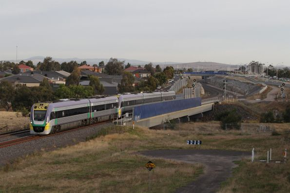 VLocity 3VL31 and VL17 cross Lollypop Creek, bound for the Wyndham Vale South turnback siding