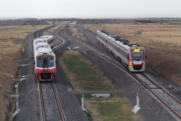 VLocity 3VL42 and classmate lead an up Geelong service at Wyndham Vale South