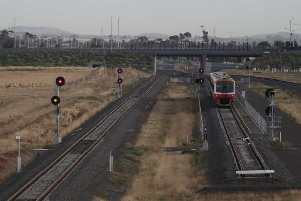 Signal now cleared to allow the Sprinter consist to depart the turnback siding at Wyndham Vale South
