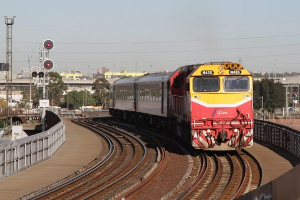 N455 leads a train across the North Melbourne flyover