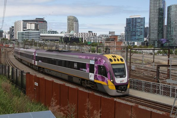 VLocity 3VL03 leads a down train over the North Melbourne flyover