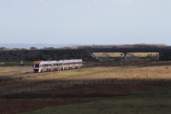 Pair of VLocity units on an up Geelong service pass the turnback siding at Wyndham Vale South