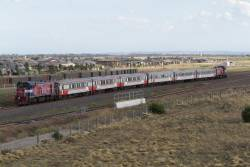 P16 leads a push-pull consist empty cars into the turnback siding at Wyndham Vale South