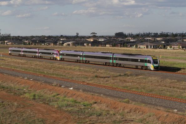 Pair of VLocity units pass Wyndham Vale South on a down Geelong service