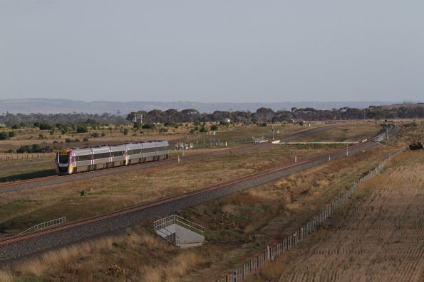 Pair of VLocity units depart Wyndham Vale South on a down Geelong service