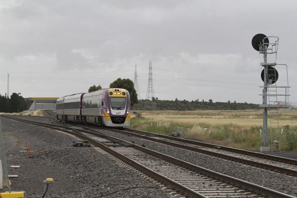 VLocity VL13 leads an up Geelong service through Deer Park Junction