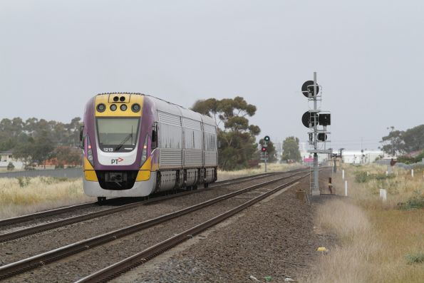 VLocity VL13 leads an up Geelong service out of Deer Park Junction