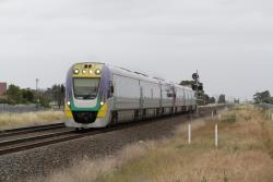 VLocity VL36 and classmate lead a down Geelong service towards Deer Park Junction