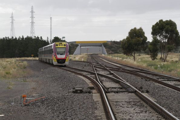 VLocity VL45 trails a down Geelong service through Deer Park Junction