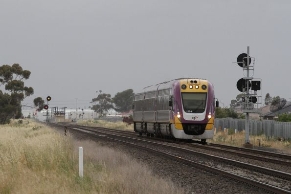 VLocity VL54 forms a down Geelong service towards Deer Park Junction