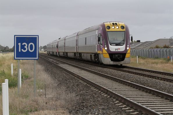 VLocity VL06 leads a down Ballarat service towards Deer Park Junction