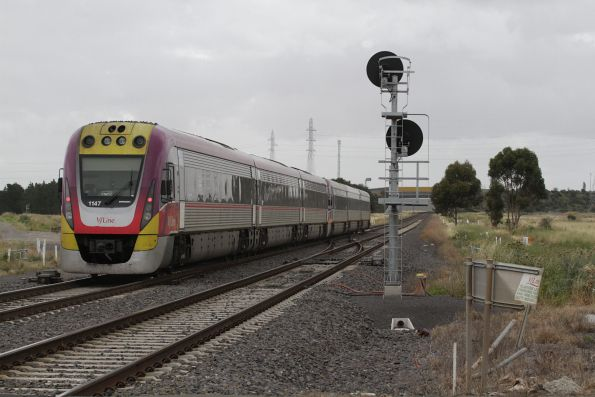 VLocity VL47 trails a down Ballarat service at Deer Park Junction