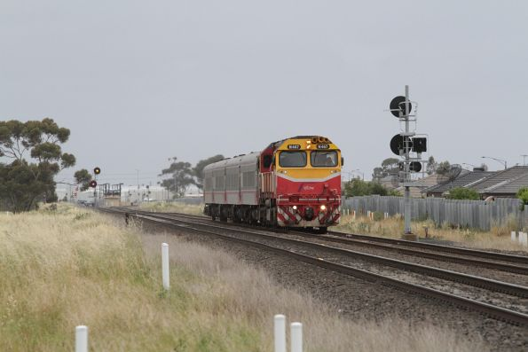 N467 leads a down Geelong service towards Deer Park Junction