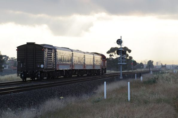 N455 leads an up Geelong line service through Deer Park Junction