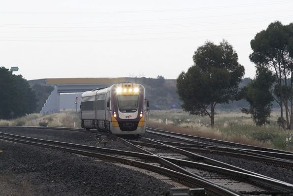 VLocity VL03 leads an up Geelong line service through Deer Park Junction
