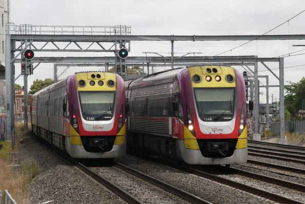 VLocity VL43 and VL46 cross paths outside Footscray