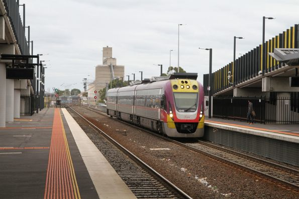 VLocity VL45 passes express through Sunshine station on a down Bendigo service