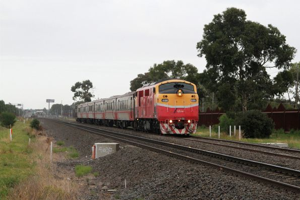 A66 leads an up Bacchus Marsh service out of Ardeer