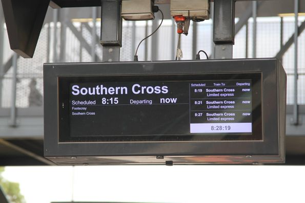 'Southern Cross / limited express' message displayed on the PIDS at Sunshine platform 3