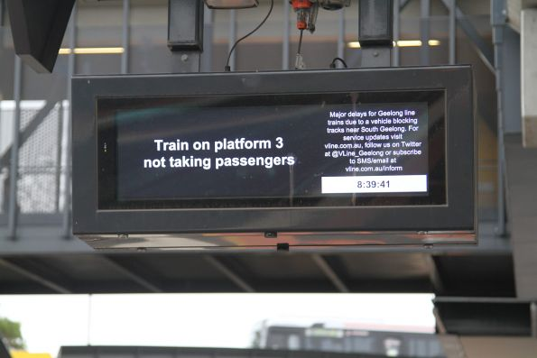V/Line disruption message displayed on the next train displays