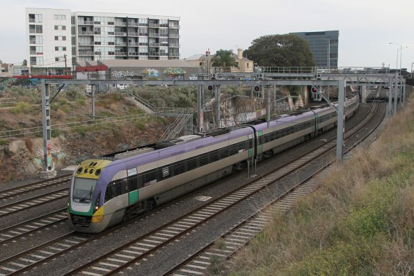 VLocity VL22 and classmate depart Footscray on the up