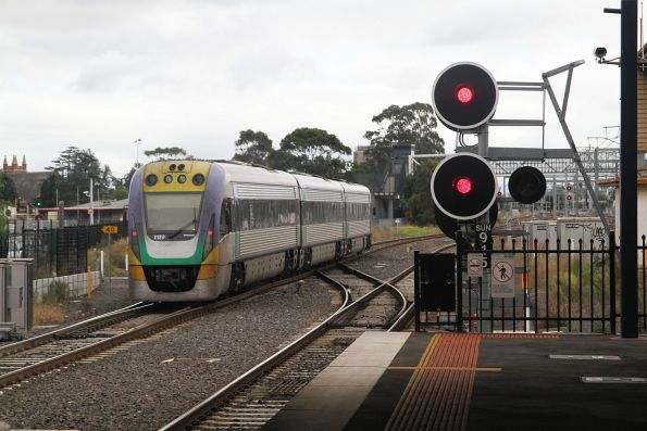 VLocity VL20 on a down Bendigo service passes through Sunshine