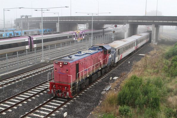 P14 leads a push-pull train past North Melbourne bound for Southern Cross platform 15
