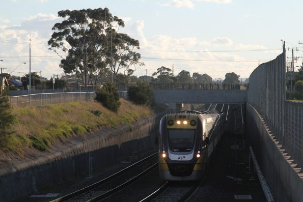 VLocity VL03 passes under Anderson Road on an up service