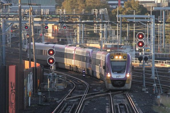 VLocity VL56 and classmate on a down service head over the North Melbourne flyover