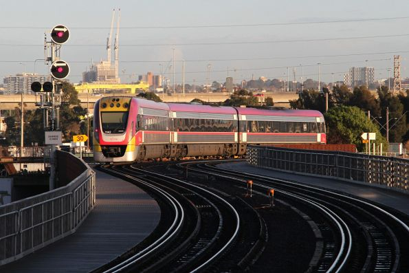 VLocity VL42 leads a down service over the North Melbourne flyover