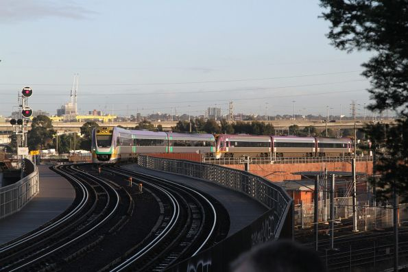VLocity VL20 leads an up service over the North Melbourne flyover