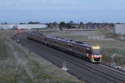 VLocity VL50 leads a down Geelong line train through Deer Park Junction
