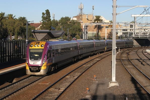 VLocity VL57 trails a classmate out of Footscray on the down