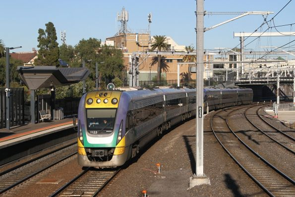 VLocity VL22 and classmate arrive into Footscray on the up