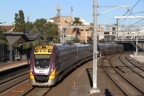 VLocity VL16 and classmate arrive into Footscray on the up