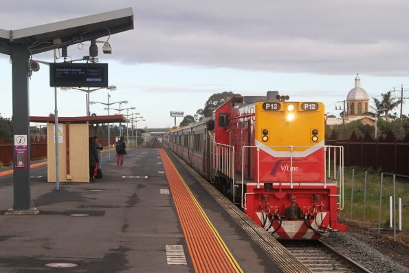 P12 leads a push-pull service express through Ardeer station on the up
