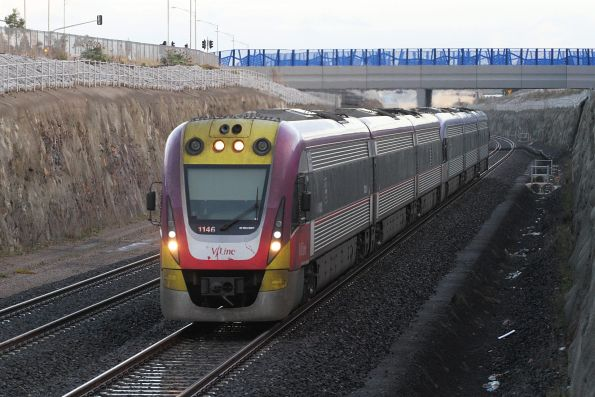 VLocity VL46 leads a classmate into Wyndham Vale station on the up