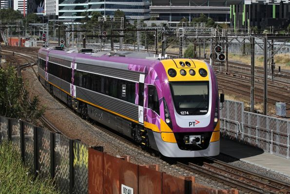 Near new VLocity VL74 crosses the North Melbourne flyover