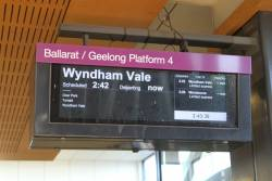 Services at terminating at Wyndham Vale due to trackwork on the Geelong line