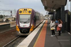 VLocity VL01 arrives into Sunshine on a down Waurn Ponds service