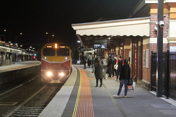 N466 leads a down South Geelong service into Footscray