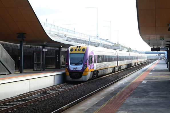 VLocity VL53 and classmate depart Wyndham Vale on the up