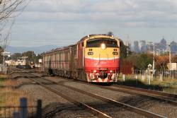 A66 leads the down Bacchus Marsh service out of Ardeer