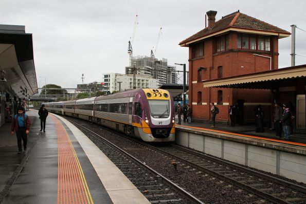 VLocity VL10 and classmate arrive into Footscray on the down
