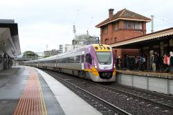 VLocity VL53 and classmate arrive into Footscray on the down